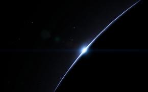 Picture the sun, stars, sunrise, planet, black