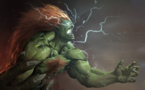 Picture zipper, art, rage, red, claws, green, Street Fighter, Blanka, Omuk