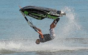 Picture sea, squirt, jump, jet ski, monster, the trick, jetski