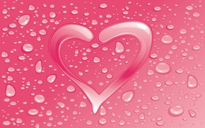 Wallpaper drops, heart, lovers, postcard, Valentine's day