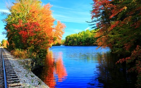 Picture trees, lake, rails, colors, Autumn, trees, nature, autumn, lake, fall