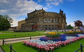 Picture flowers, Germany, Dresden, area, Palace, beds, Kennel
