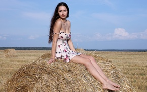 Picture chest, look, girl, hair, dress, hay, beautiful, Sexy, Helga Lovekaty