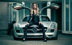 Picture girl, model, Mercedes SLS, gorgeous, Heidi, exotic car, Jason Harynuk