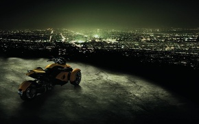 Picture night, the city, motorcycle