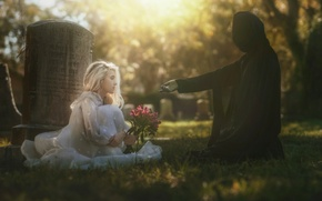Picture girl, death, art, cemetery, Life & Death