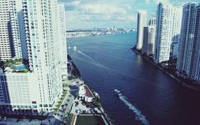 Picture water, height, home, Miami, FL, boat, Miami, skyscrapers, florida, vice city
