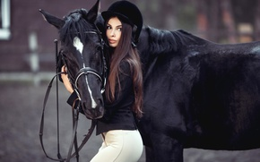 Picture girl, horse, black, horse, makeup, figure, hairstyle, brown hair, beauty, rider, uniform, jockey, zhokeyka