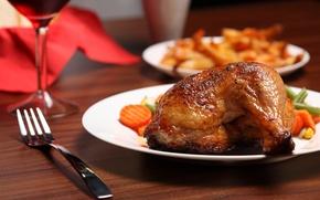 Wallpaper food, chicken, plate, leg, vegetables, fried