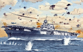 Picture figure, art, the carrier, US NAVY, USS Yorktown, CV-5, the lead ship of its type