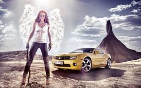 Wallpaper girl, landscape, nature, Wallpaper, mountain, wings, angel, Chevrolet, brunette, glasses, wallpaper, Camaro, 2012, Chevrolet, pants, ...