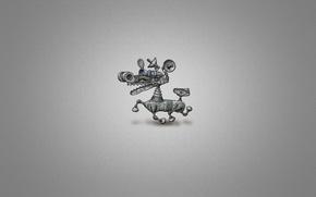 Picture white, metal, mechanism, robot, dog, minimalism, minimalism