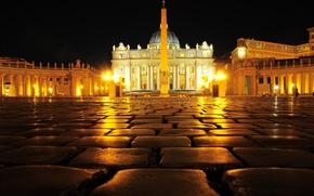 Picture night, lights, obelisk, The Vatican, St. Peter's Cathedral, St. Peter's square