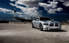Picture clouds, cars, the plane, Dodge, cars, dodge, charger, auto wallpapers, car Wallpaper