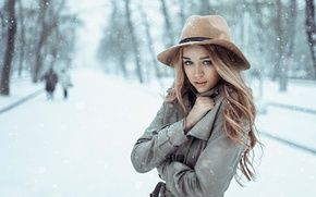Picture girl, snow, hat, Russia, coat, cold, March, George Chernyadev