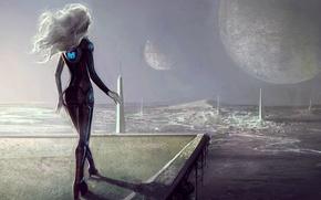 Picture girl, fiction, hair, planet, art, cyborg