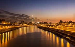 Picture the sky, clouds, light, sunset, orange, the city, lights, reflection, river, the evening, lights, China, ...