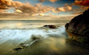 Picture sea, wave, beach, the sky, clouds, rocks, shore, horizon