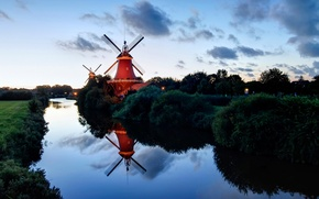 Picture river, the evening, Germany, the bushes, Lower Saxony, windmill, Of Greetsiel