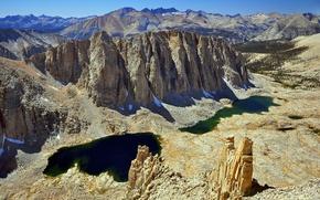 Picture the sky, snow, mountains, lake, stones, rocks, USA, Sequoia National Park