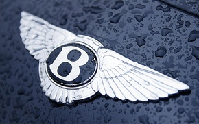 Picture water, drops, Bentley, logo, the hood, icon