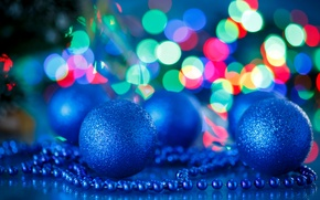 Picture Blue, Balls, New year, Holidays