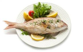 Picture lemon, rosemary, vegetables, tomato, fried, fish