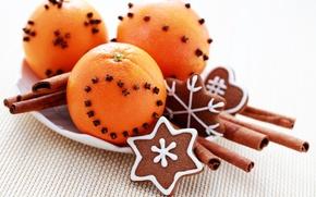 Picture heart, oranges, sticks, cookies, cinnamon, dessert, carnation, cakes, glaze, spices, Christmas