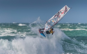 Picture sea, wave, squirt, sail, Board, sailing, Windsurfing