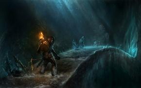 Picture ice, bridge, people, hood, torch, spear, cave, beard, Traveler
