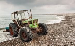 Picture sea, background, tractor