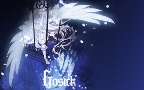 Picture butterfly, night, magic, girl, gloves, balcony, lace, white wings, Gosick, Victorica de Blois