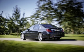 Picture road, trees, background, movement, Mercedes-Benz, blur, car, sedan, AMG, 2014, S65