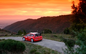 Picture Sunset, The sky, Red, Hills, Citroen, WRC, Rally, Rally