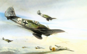 Picture war, art, painting, aviation, concept art, drawing, ww2, combat, dogfight, fw 190, b 24 liberator