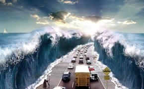 Wallpaper road, sea, rays, machine, abstraction, the way, the sun, work, danger, element, Jesus, transport, sign, ...