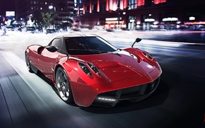 Picture Red, Pagani, Power, Speed, Front, Road, Supercar, To huayr