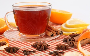 Picture reflection, lemon, tea, orange, Cup, drink, cinnamon, saucer, slices, peel, star anise