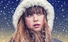 Picture snow, face, portrait, hood, girl