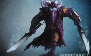 Picture art, horns, swords, Dota 2, Rikimaru, Riki, Stealth Assassin, Satyr