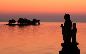 Picture sea, island, Japan, silhouette, Shimane