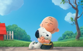 """Picture puppy, dog, tree, boy, cartoon, friendship, friends, Charlie Brown, Beagle, Snoopy, """"Sniffy"""", The Peanuts Movie, …"""