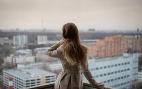 Picture girl, the city, overcast, view, Moscow, balcony, Atmosphere, Radmila Sadykova