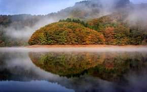 Wallpaper autumn, reflection, trees, lake, Luxembourg