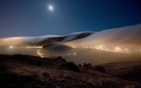 Picture road, the sky, stars, landscape, night, nature, lights, fog, hills, the moon, track, the evening, ...