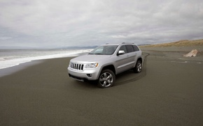 Picture sand, coast, Jeep, Grand Cherokee