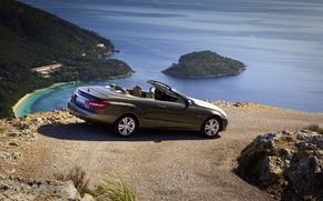 Picture sea, summer, mountains, Mercedes, Mercedes, convertible, E class cabrio