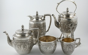Picture silver, tea service, Scottish tea set