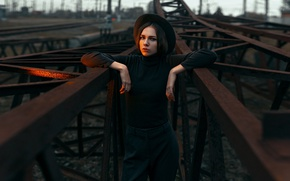 Picture look, the way, face, pose, sweetheart, model, portrait, Alice, railroad, light, young, cute, pants, Alice, ...