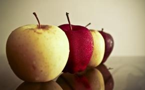Wallpaper drops, reflection, apples, Apple
